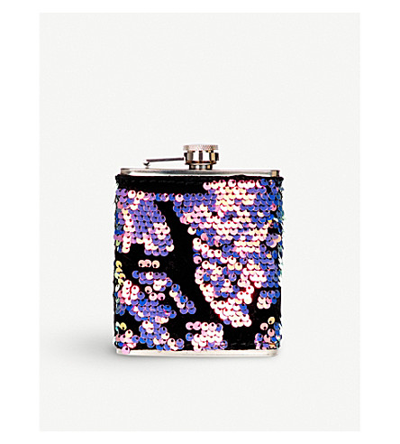 SKINNYDIP Luxe sequin hip flask 7oz (Rainbow+sequin