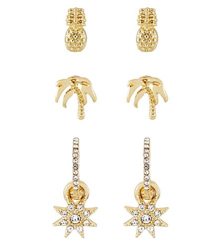 SKINNYDIP Pineapple stud earring pack of 3 (Gold