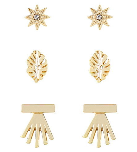 SKINNYDIP Star stud earring pack of 3 (Gold