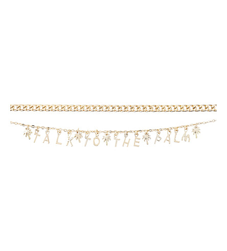 SKINNYDIP Talk to the Palm choker necklace (Gold
