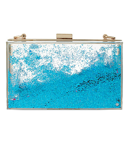 SKINNY DIP Liquid glitter clutch (Blue