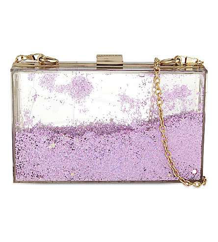 SKINNY DIP Liquid glitter shoulder clutch (Pink