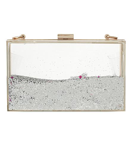 SKINNY DIP Liquid glitter clutch (Silver