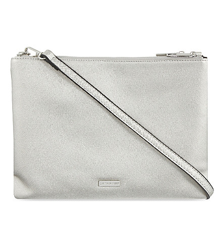 SKINNY DIP Duo saffiano cross-body bag (Silver