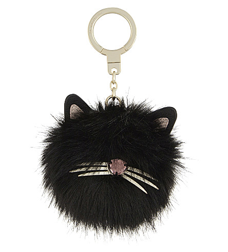 KATE SPADE NEW YORK Faux-fur and leather cat pouf key ring (Multi
