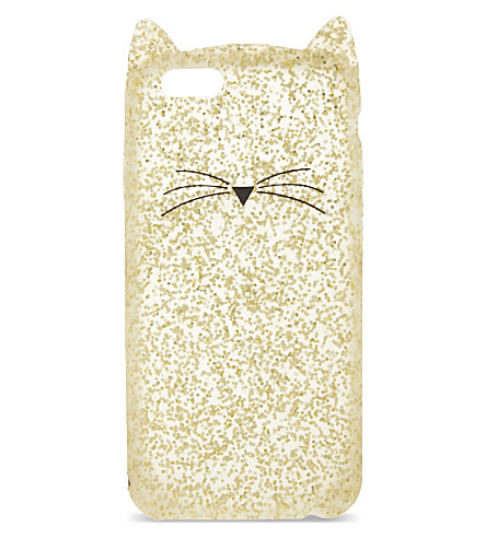 KATE SPADE NEW YORK Glitter cat iphone 6 case (Gold glitter