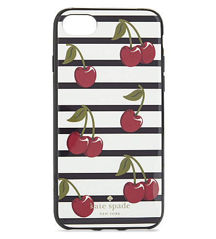 KATE SPADE NEW YORK Cherry and stripe iPhone 7 case (Platino