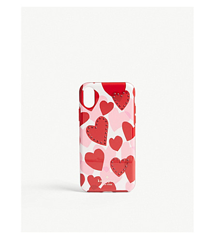 KATE SPADE NEW YORK Jewelled heart clip-on iPhone X case (Red+multi