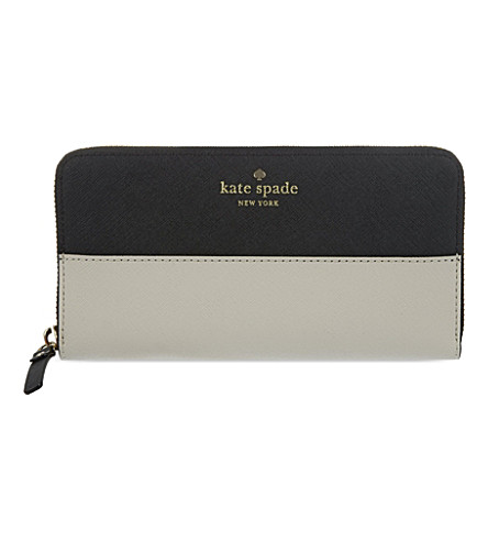 KATE SPADE NEW YORK Lacey leather continental wallet (Black pebble