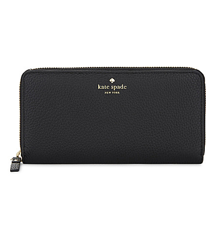 KATE SPADE NEW YORK Cobble Hill Lacey grained leather continental wallet (Black