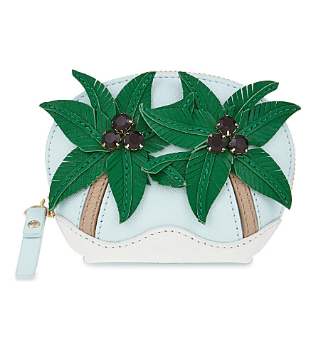 KATE SPADE NEW YORK Breath of Fresh Air palm tree leather coin purse (Multi
