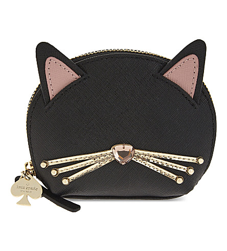 KATE SPADE NEW YORK Novelty cat leather coin purse (Black