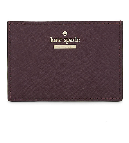 KATE SPADE NEW YORK Cameron Street leather cardholder (Deep plum