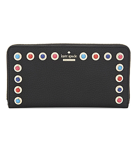 KATE SPADE NEW YORK Devoe Street Lacey studded leather wallet (Black+multi