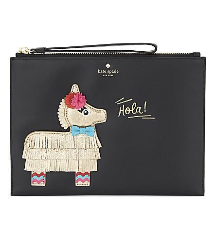 KATE SPADE NEW YORK Piñata medium Bella leather pouch (Black+multi