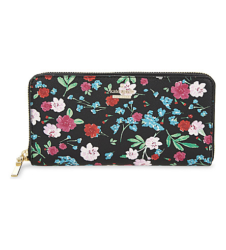 KATE SPADE NEW YORK Cameron Street Lacey Jardin leather continental wallet (Black/multi
