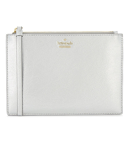 KATE SPADE NEW YORK Highland Drive leather wristlet (Platino