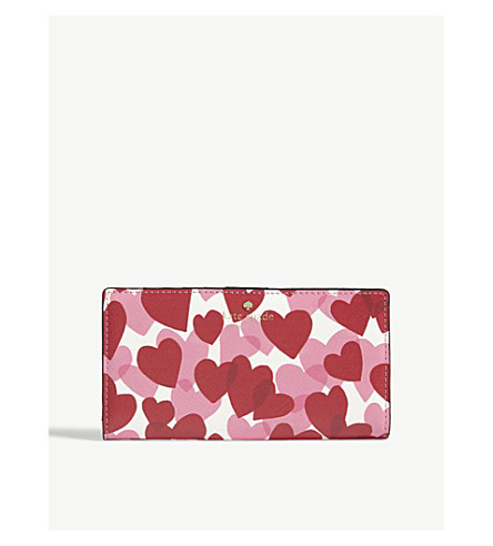KATE SPADE NEW YORK Stacy Yours Truly leather flat wallet (Heart+party