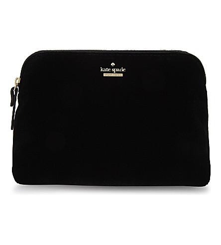KATE SPADE NEW YORK Watson Lane Briley small velvet make-up bag (Black
