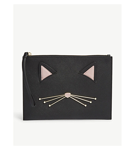 KATE SPADE NEW YORK Cat's Meow Bella pouch (Black+multi