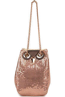 KATE SPADE Evening Belle Night Owl metallic bucket bag