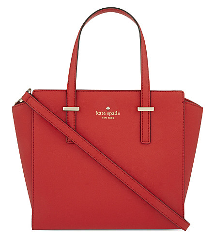 KATE SPADE NEW YORK Hayden Cedar Street small leather tote (Cherry liqueur/champagne