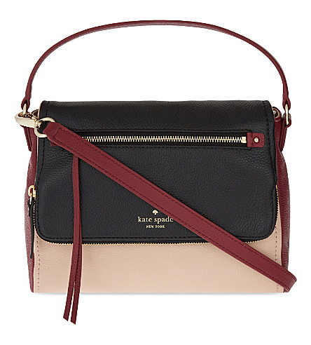 KATE SPADE NEW YORK Cobble Hill small Toddy leather shoulder bag (Powder/merlot/black
