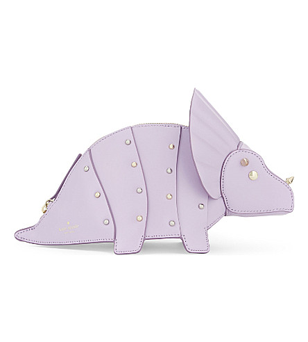 KATE SPADE NEW YORK Whimsies Triceratops Leather crossbody bag (Lilac cream