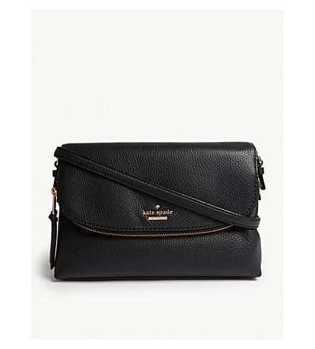 KATE SPADE NEW YORK Jackson Street Harlyn grained leather cross-body bag (Black