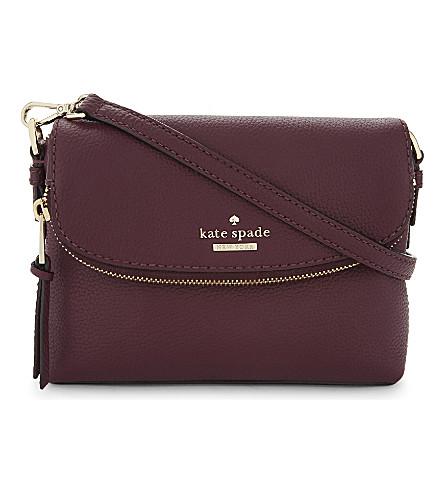 KATE SPADE NEW YORK Jackson Street Harlyn small grained leather cross-body bag (Plum