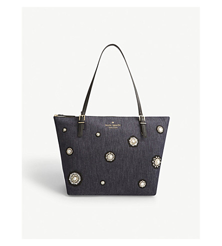 KATE SPADE NEW YORK Cameron Street crystal-embellished denim tote bag (Port+blue