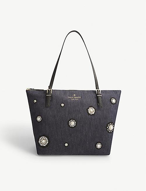 KATE SPADE NEW YORK Cameron Street Crystal Embellished Denim Tote Bag