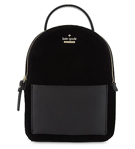 KATE SPADE NEW YORK Watson Lane mini velvet backpack (Black