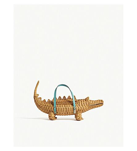 KATE SPADE NEW YORK Swamped 3D alligator wicker bag (Natural+straw