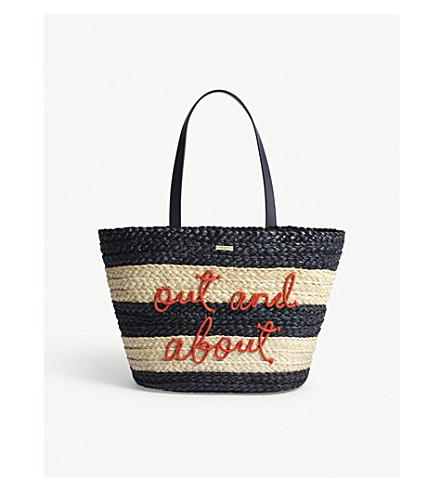 KATE SPADE NEW YORK Out and About straw tote bag (Multi