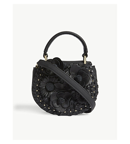KATE SPADE NEW YORK Madison Layden Street floral leather saddle bag (Black