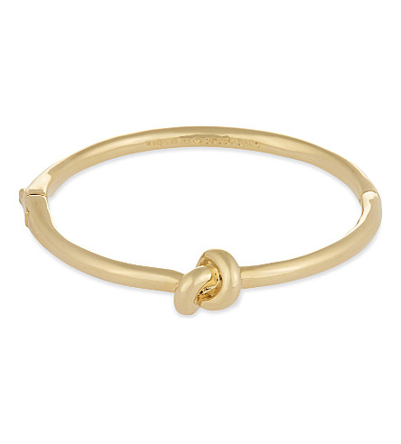 KATE SPADE NEW YORK Sailor's knot hinged gold-plated bangle (Gold