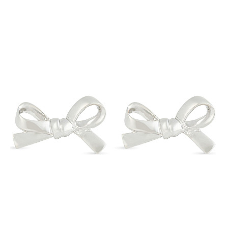 KATE SPADE NEW YORK Skinny Mini bow stud earrings (Silver