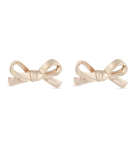 KATE SPADE NEW YORK Skinny bow 12ct gold-plated earrings (Clear/rose+gold