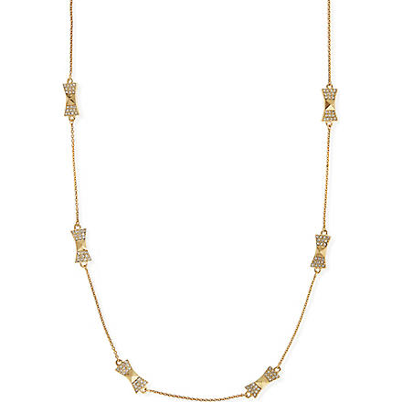 KATE SPADE Locked In scatter bow necklace (Clear/gold