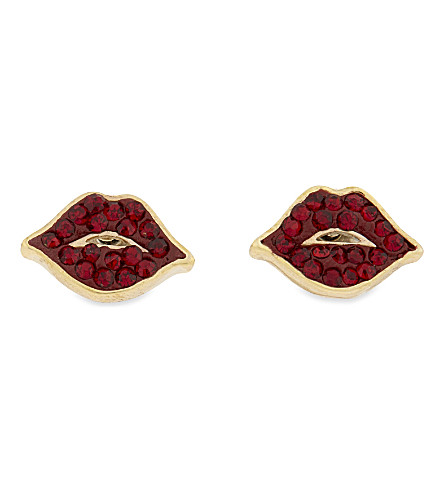 KATE SPADE NEW YORK Things We Love 14ct gold-plated lips earrings (Redmulti
