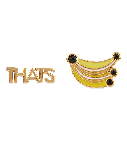 KATE SPADE NEW YORK Out of Office that's bananas 12ct gold-plated studs (Yellowmlt