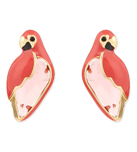 KATE SPADE NEW YORK Out of Office 12ct gold-plated parrot studs (Pinkmulti