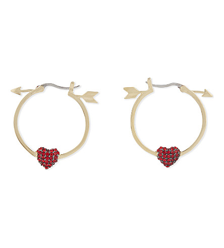 KATE SPADE NEW YORK Be mine gold-plated love heart and arrow hoop earrings (Red