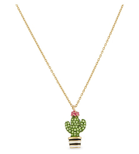 KATE SPADE NEW YORK Scenic Route 12 ct gold-plated cactus pendant (Multi