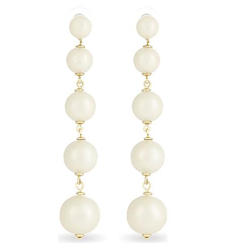 KATE SPADE NEW YORK Girls in Pearls linear statement stud earrings (Cream+multi