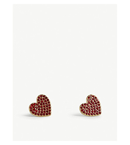 KATE SPADE NEW YORK Yours Truly mini heart stud earrings (Red