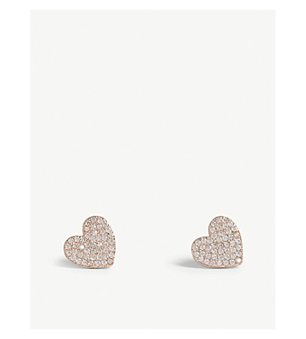 KATE SPADE NEW YORK Yours Truly mini heart stud earrings (Clear/rose+gold