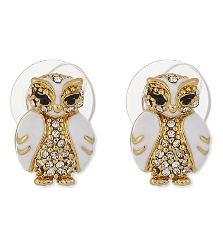 KATE SPADE NEW YORK Star Bright owl stud earrings (White+multi