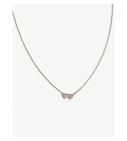 KATE SPADE NEW YORK Yours Truly mini heart necklace (Clear/rose+gold